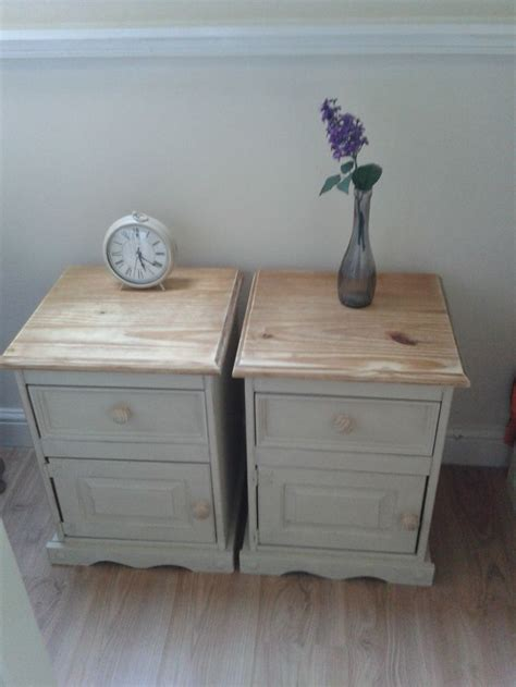 shabby chic pine table vintage painted solid pine pair of bedside tables country shabby chic solid pine grey and