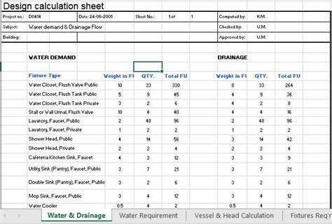 water demand calculations excel sheet xls calculator