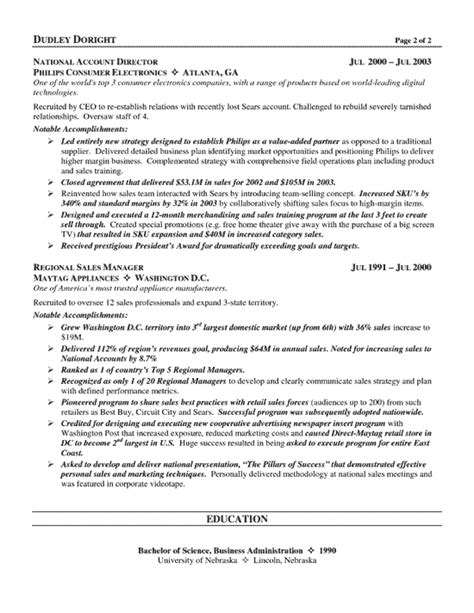 Channel Sales Manager Resume Sle by Channel Sales Resume Exle