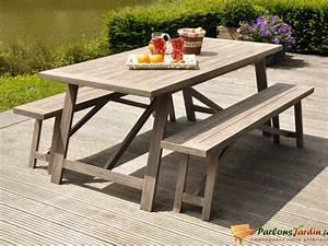 Table Jardin En Bois : salon de jardin en bois avec 2 bancs milano sur ~ Teatrodelosmanantiales.com Idées de Décoration