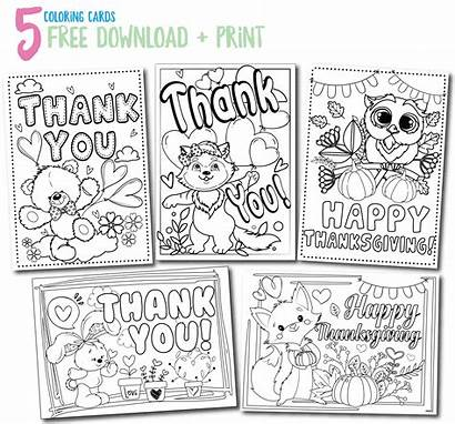 Cards Thank Printable Coloring Template Printables Simple
