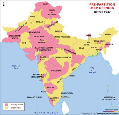 pre partition map  india