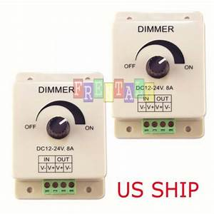 2x Manual Dimmer Switch For Led Strip Light  12v 8a