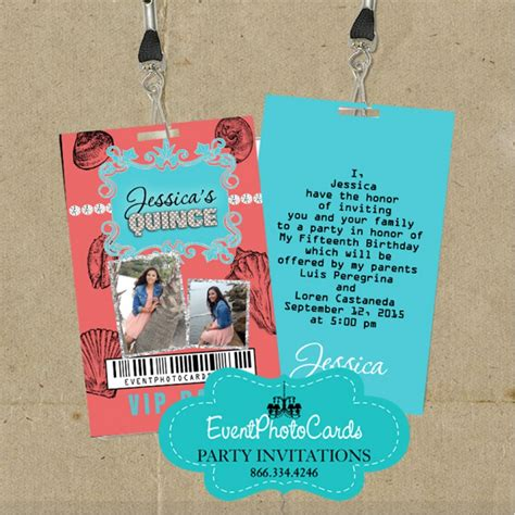 aqua coral beach invitations sweet  vip pass invitations
