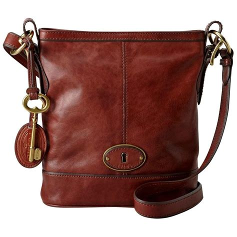 fossil vintage  issue russet brown leather bag