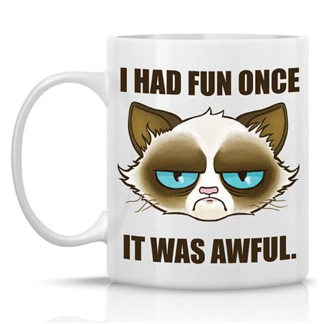 Grumpy Cat Meme I Had Fun Once - tard the grumpy cat mug i had fun once from humeruswares on