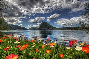 Switzerland, Sky, Scenery, Mountains, Poppies, Lake, Clouds, Hdr, Lugano, Nature, Wallpapers, Hd