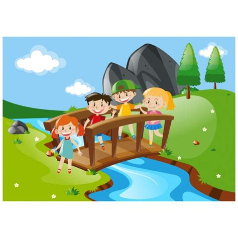Download Bridge Child Template by Kids Crossing A Bridge Background Vector Free Download