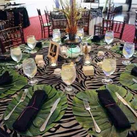 tropical table ls cheap jungle themed dinner party table setting theme dinners