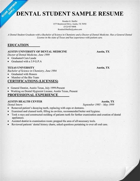 registered dental assistant resume templates