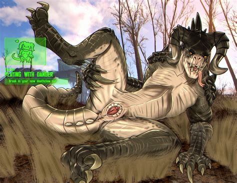 rule 34 anus claws clitoris deathclaw english text fallout female feral forked tongue hi res