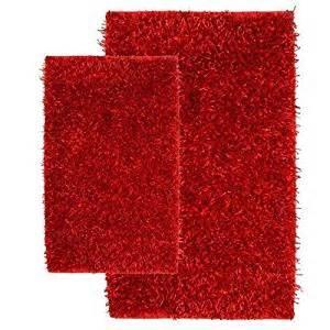 amazon com 2 piece shag accent rug set in red barbados