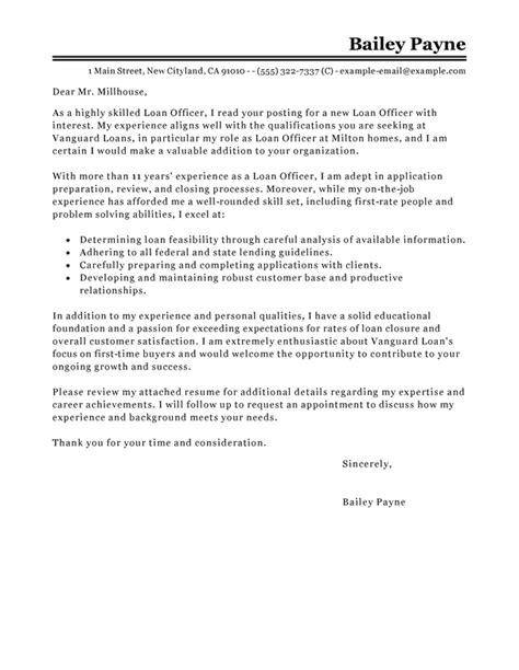 loan officer cover letter examples livecareer