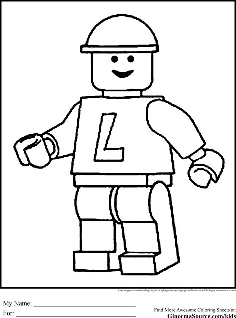 Colouring In Sheets Lego Man Templates To Print Drawn