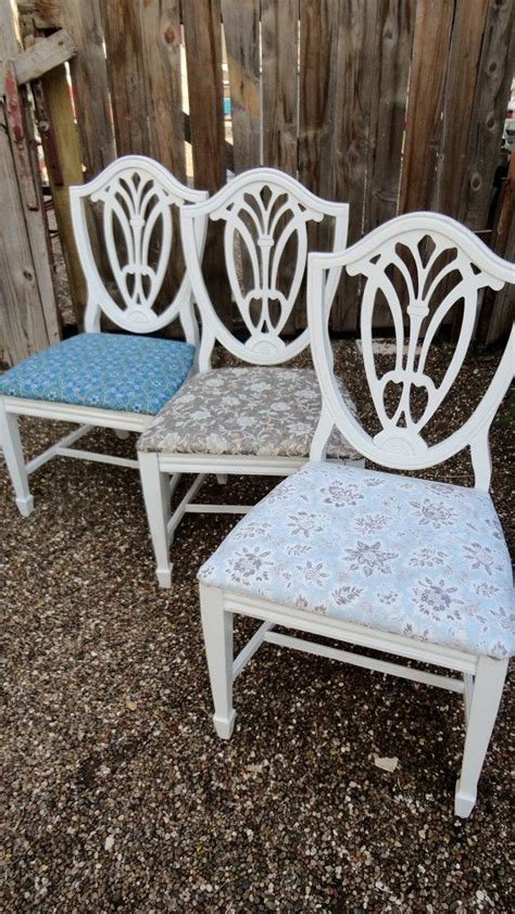 Pair of dining chairs shabby chic distressed hand painted