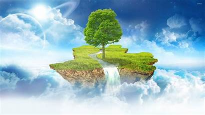 Floating Island Fantasy Skyblock Wallpapers Minecraft Background