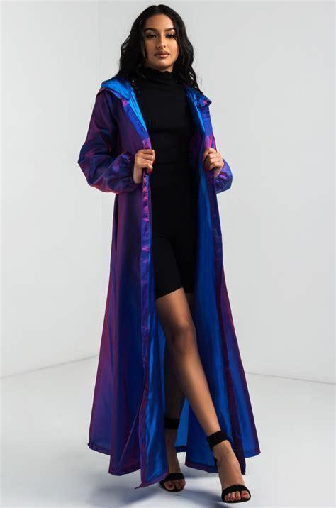 akira longline tie waist hooded iridescent duster coat  purple