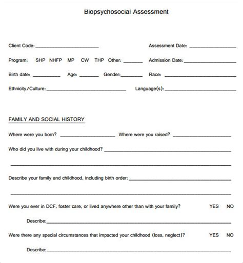 psychosocial assessment template 9 biopsychosocial assessment templates pdf sle templates