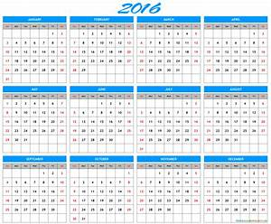 2016 Yearly Calendar Printable Archives - Free Printable Calendar 2016 - 2017