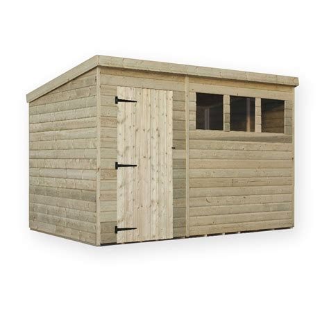 10 x 6 pressure treated tongue and groove pent shed with 3