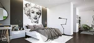 noir et blanc 40 chambres a coucher qui font rever With decorer un mur exterieur 11 un tapis blanc douillet pour decorer la chambre