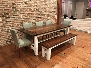 Ana White Farmhouse Table and Matching Bench - DIY Projects