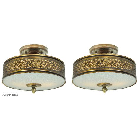 drum shade light fixtures vintage semi flush mount ceiling lights pair of drum shade
