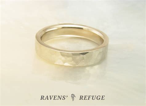 palladium white gold wedding ring hammered wedding band ravens refuge