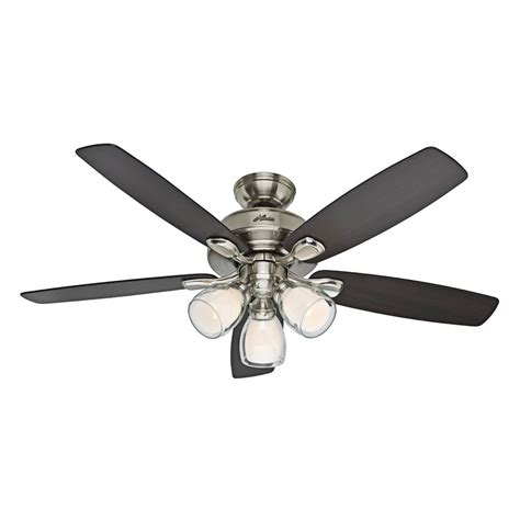 lowes ceiling fans with lights hunter 52 in meridale brushed nickel ceiling fan with