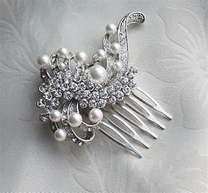 Bridal Crystal Pearls Hair Brooch For Wedding Vintage