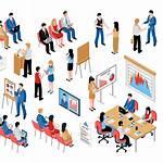 Training Coaching Icons Isometric Education Virtual Presentation