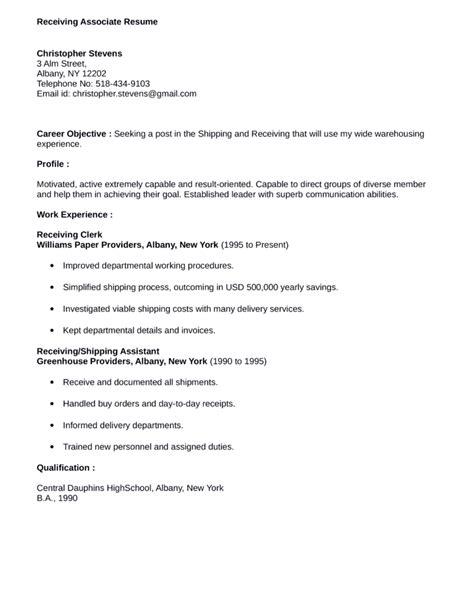 easy receiving associate resume template