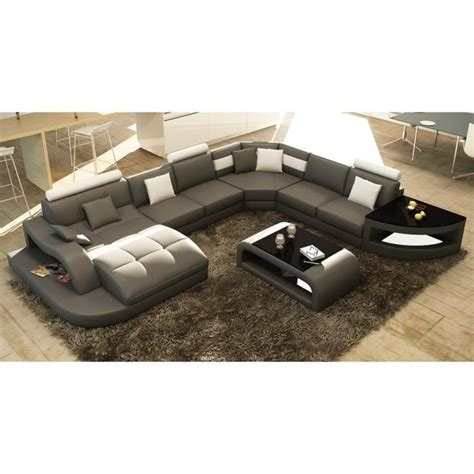canapé 7 places convertible canapé d 39 angle design panoramique gris et blanc achat