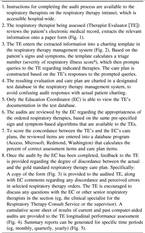 computer aided audit system  respiratory therapy