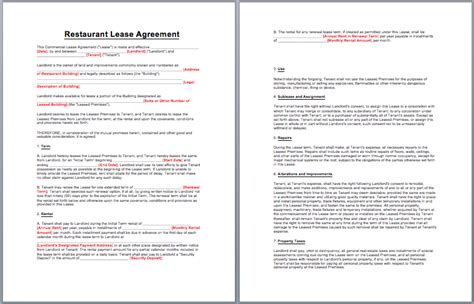 restaurant lease agreement template lease agreement