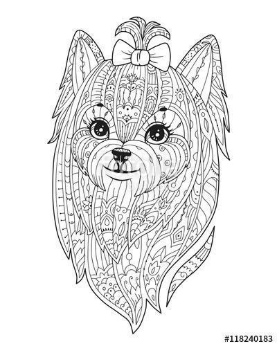 Vector: Adult coloring page with dog. Doodle yorkshire