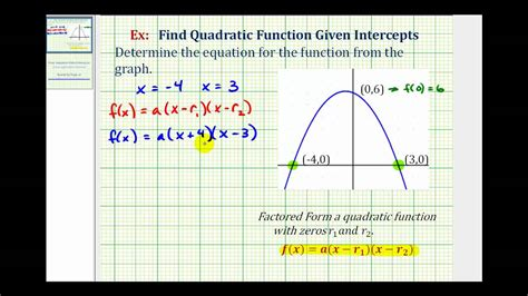 Find A Quadratic Function Given The Intercepts Of The