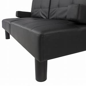 Leather faux fold down futon sofa bed couch sleeper for Flip down sofa bed