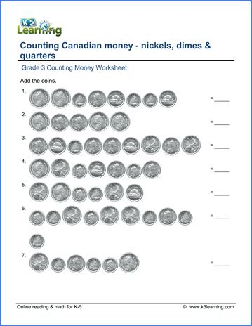 grade 3 math worksheet canadian money nickels dimes and quarters k5 learning