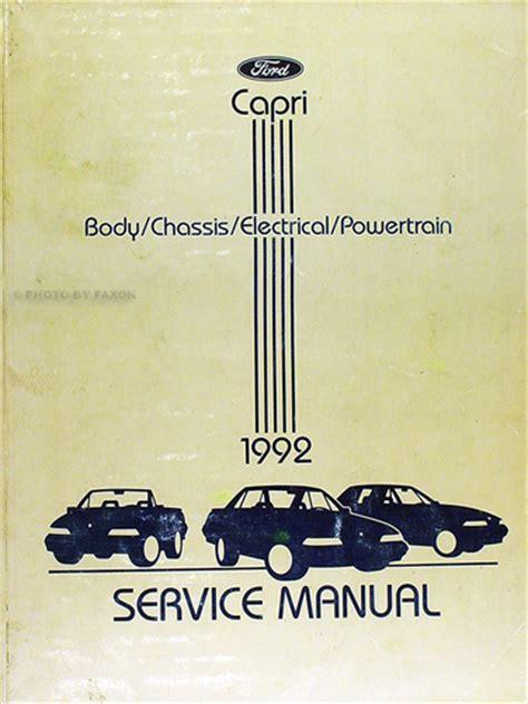 car repair manuals online pdf 1991 mercury capri engine control 1992 mercury capri and xr2 repair shop manual original