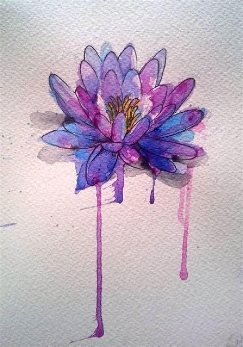Cool Watercolor Lotus Flower Tattoo Design