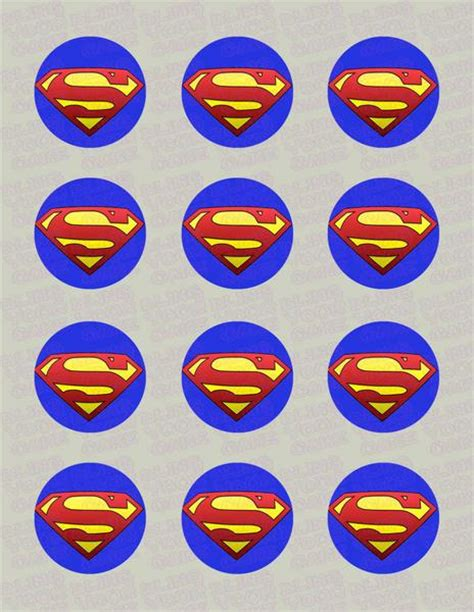 superman logo edible icing cupcake  cookie decor toppers