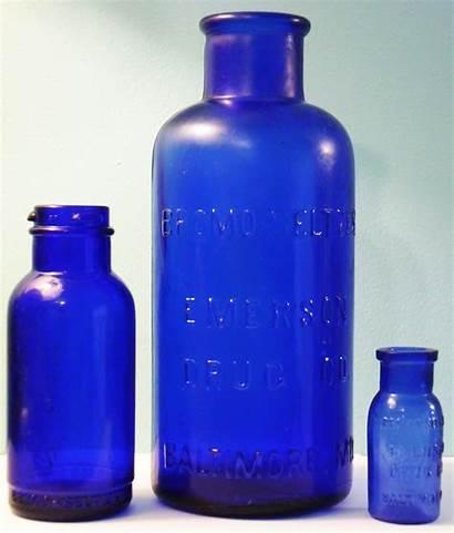 Seltzer Bottles Bromo Cobalt Glass Drug Emerson