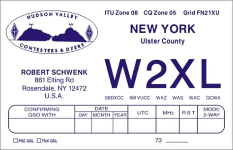 HUDSON VALLEY QSL CARDS