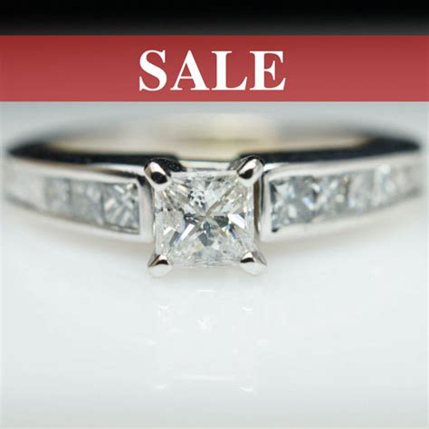 sale vintage engagement ring princess cut ring 14k white gold all natural