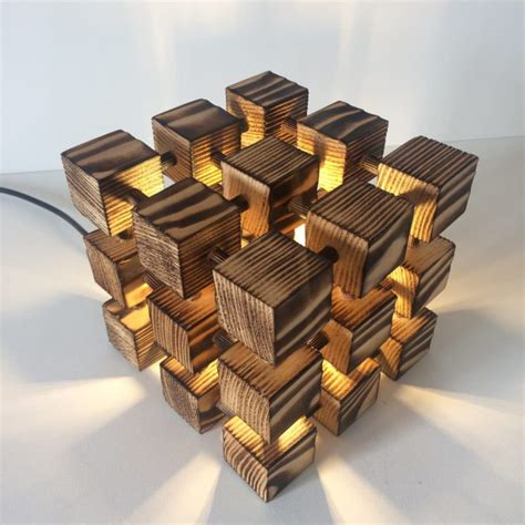 Wooden Rubik Cube Table Lamp  E  A Id Lights