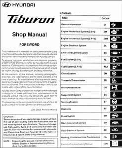 2004 Hyundai Tiburon Repair Shop Manual Original