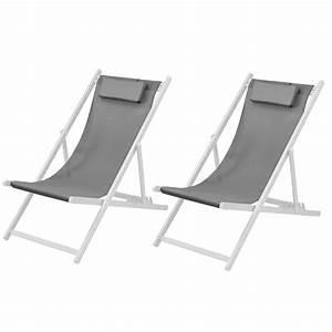 Chaise Blanche Et Grise : chaise longue calvi grise et blanche lot de 2 achetez ~ Teatrodelosmanantiales.com Idées de Décoration