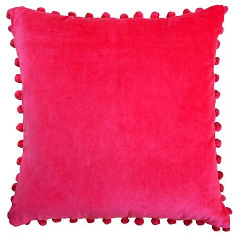 Pink Velvet Pom Pom Cushion  Pink Cushions  Ragged Rose