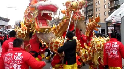 lion dragon dance chinese lunar  year parade flushing queens nyc youtube
